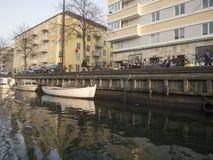 Christianshavns Kanal em Copenhaga, Dinamarca fotos de stock