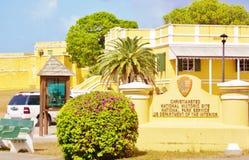Christiansted nous signe de site historique des Îles Vierges images stock