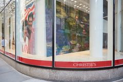 Christie American branch window in Rockfeller Center in New York Royalty Free Stock Image