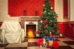 Christimas  interior in red vintage room Stock Photo