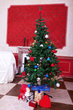 Christimas  interior in red vintage room Royalty Free Stock Images