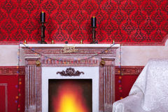Christimas  interior in red vintage room Royalty Free Stock Photography