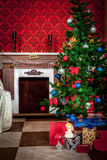 Christimas  interior in red vintage room Stock Image