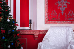 Christimas  interior in red vintage room. Studio shot Royalty Free Stock Image