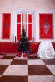 Christimas  interior in red vintage room. Studio shot Stock Images