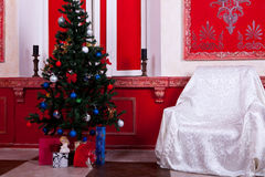 Christimas  interior in red vintage room. Studio shot Stock Photos