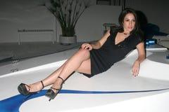 Christina DeRosa an der Villenparty bewirtet durch britische Talk Show Moderator Jacquie Flamme. Privater Wohnsitz, Beverly Hills, stockbilder