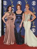 Christina Hendricks, Januari Jones, Elizabeth Moss, Waanzin Stock Foto