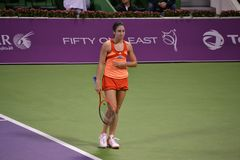 Christina McHale. DOHA-QATAR: FEBRUARY 17: Tennis Player Christina McHale at Qatar Total Open on February 17, 2012 in Doha, Qatar. The event was held from stock images