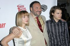 Christina Ricci,Emile Hirsch,Joel Silver. Christina Ricci with Joel Silver and Emile Hirsch  at the 2008 ShoWest-Warner Bros. Big Picture '08 event. Theatre Des Stock Photography