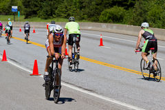 Christine Anderson in the Coeur d' Alene Ironman cycling event Royalty Free Stock Photography