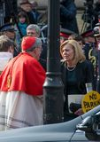 Christine Elliott greets Canadian Cardinal Thomas  Royalty Free Stock Photo