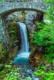 Christine Falls nära ingången som monterar Rainier National Park Arkivbild