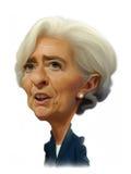 Christine Lagarde karikatyrstående Arkivbild