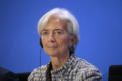Christine Lagarde. MARCH 11, 2015 - BERLIN: the Managing Director of the International Monetary Fund (IMF), Christine Lagarde at a press conference after a Stock Photos