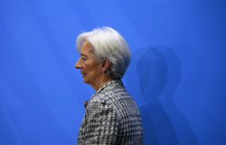 Christine Lagarde. MARCH 11, 2015 - BERLIN: the Managing Director of the International Monetary Fund (IMF), Christine Lagarde at a press conference after a Royalty Free Stock Image