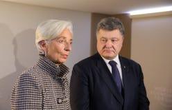 Christine Lagarde and Petro Poroshenko Stock Photography