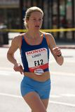 Christine Lundy na maratona do LA Fotografia de Stock Royalty Free