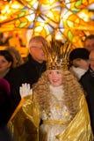 Christkind-Laterne Prozession-Weihnachten-Nürnberg-Deutschland lizenzfreie stockfotos