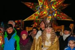 Christkind-lykta Procession-Jul-Nuremberg-Tyskland Royaltyfri Bild