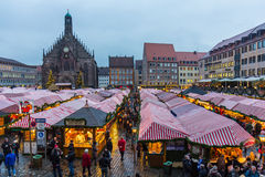 Christkindlesmarkt- Main Market Square-Nuremberg, Germany Royalty Free Stock Photos