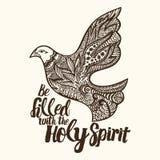 Christliche Beschriftung, Gekritzelkunst, Typografie Seien mit dem Heiliger Geist gefüllt Sie stock abbildung