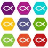 Christliche Fischsymbolikonen stellten Vektor 9 ein lizenzfreie abbildung