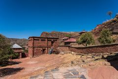 Christliche Kirche Abreha Atsbeha in Tigray, Äthiopien lizenzfreies stockfoto