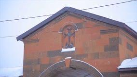 Christliche Kirche im Winter Berühmte Heilig-Gregory Tigran Honents-Kirche wird mit Winterlandschaft umgeben Die Kirche Stockbild