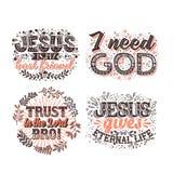 Christliche Typografie und Beschriftung Illustrationen von biblischen Phrasen lizenzfreie abbildung