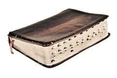Christlicher Glaube der alten Weinlesebuch Bibel-Schriften der Sepiaantike Retro- Glaubens Stockfotos