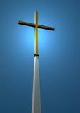 Christliches Kreuz auf Blau Stockfotografie