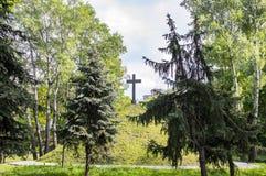 Christliches Kreuz auf einem H?gel des gr?nen H?gels unter einem bew?lkten Himmel stockfotografie
