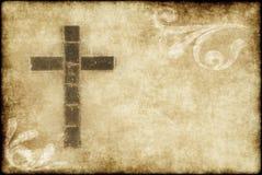 Christliches Kreuz auf Pergament Stockfoto