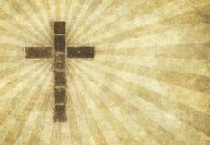 Christliches Kreuz auf Pergament Stockfotos