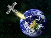 Christliches Kreuz, das umgedrehte Erde schlägt Stockfoto