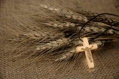 Christliches Kreuz und Weizen lizenzfreie stockbilder