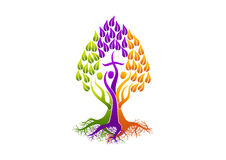 Christliches Leutelogo, Baum Heiliger Geist der Wurzelikone, Familienkirchenvektor-Symboldesign Stockfotografie