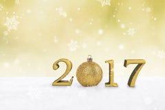 2017 Christma balls and snowflake on abstract bokeh light. Royalty Free Stock Photos