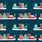 Christma houses on winter seamless pattern royalty free stock image