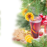 Christma mulled wine with fir tree Stock Photos