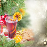 Christma mulled wine with fir tree Royalty Free Stock Image