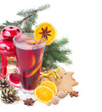 Christma mulled wine with fir tree Royalty Free Stock Photos