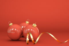 Christmal Balls. Christmas balls and ornaments over a red background vector illustration