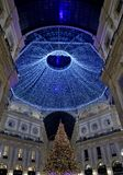 Christmas 2016 in Vittori Emanuele`s Gallery. The new decoration lights for Christmas 2016 for the Gallery Vittorio Emanuele in Milan stock images