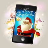 Christmans greeting with mobile Royalty Free Stock Photography