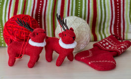 Christmans and New Year traditional deers and a slittle sock on royalty free stock photo