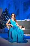 Christmans party, winter holidays woman with cat. New year girl. Royalty Free Stock Photography