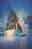 Christmans party, winter holidays woman with cat. New year girl. Stock Photography