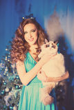 Christmans party, winter holidays woman with cat. New year girl. Christmas tree in interior background Stock Photo